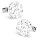 Sterling Poker Chip Cufflinks