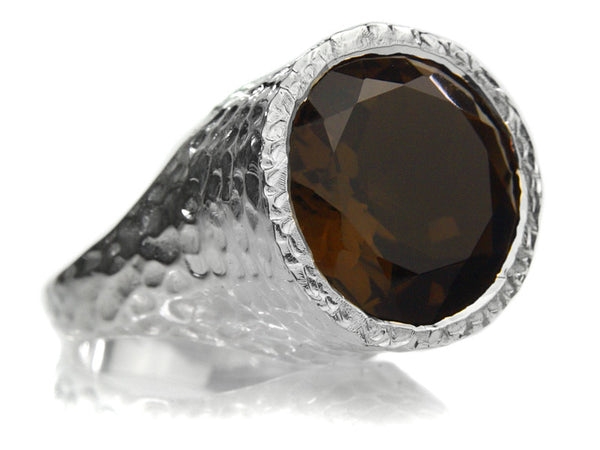 Gaudi Pointallism Circle Coktail Ring (Smokey Quartz)