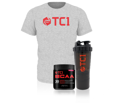 Shaker Cup BCAA's and Grey T-Shirt Bundle