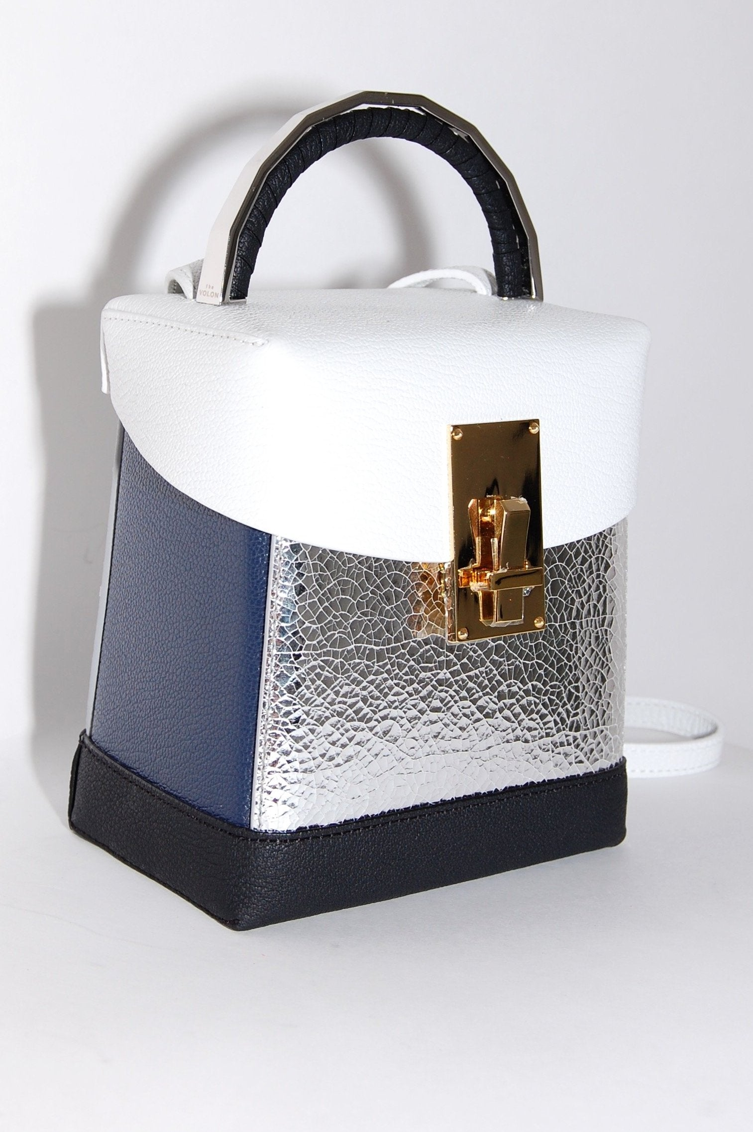 f4bbd1abc941 The Volon Great L. Box Bag in White and Silver Leather - Curio ...