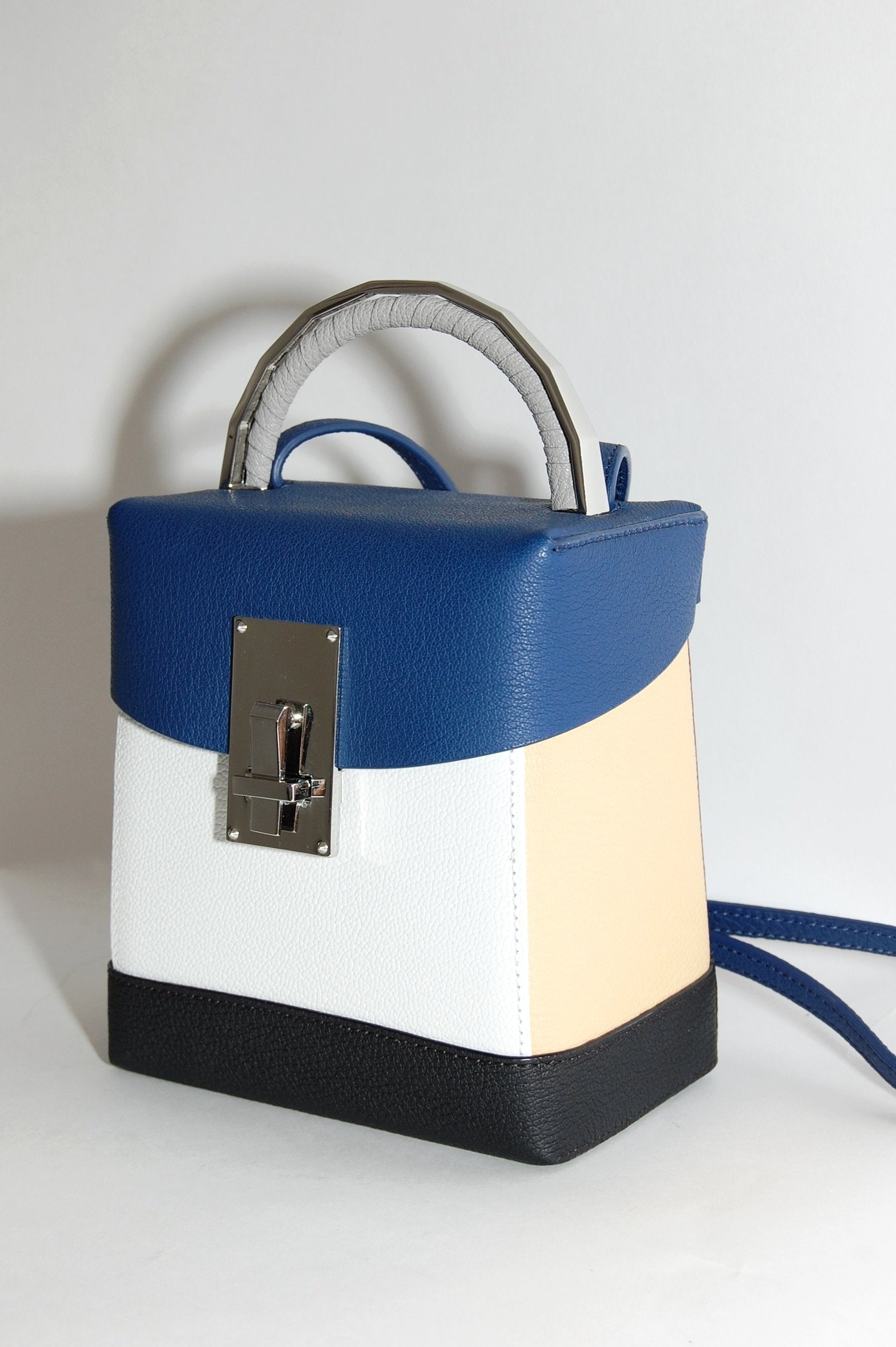 ca8e95bed235 The Volon Great L. Box Bag in Navy Blue and White Leather - Curio ...