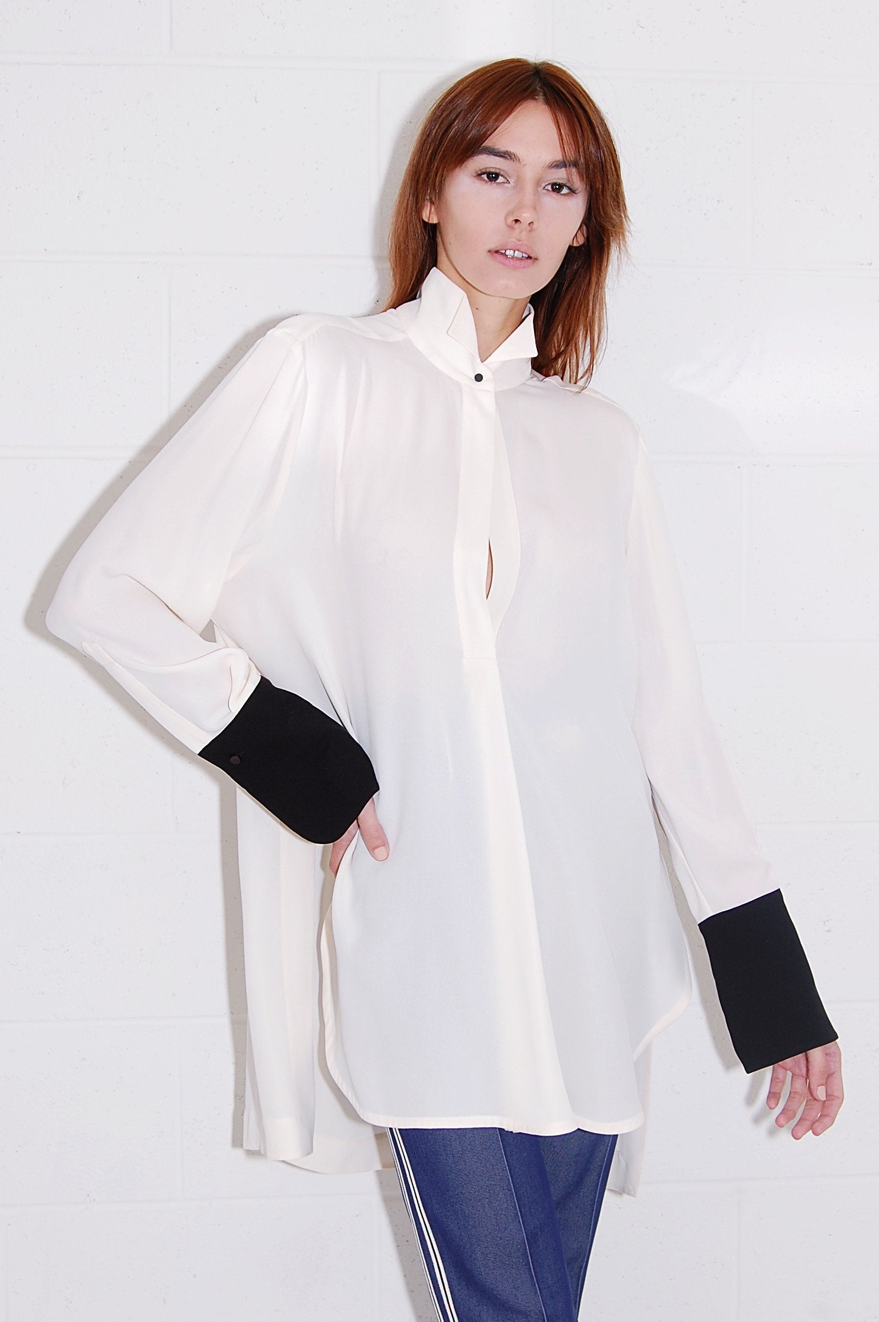 eecd7b04f547 Petar Petrov Crepe White Blouse with Wingtip Collar and Black Cuffs ...