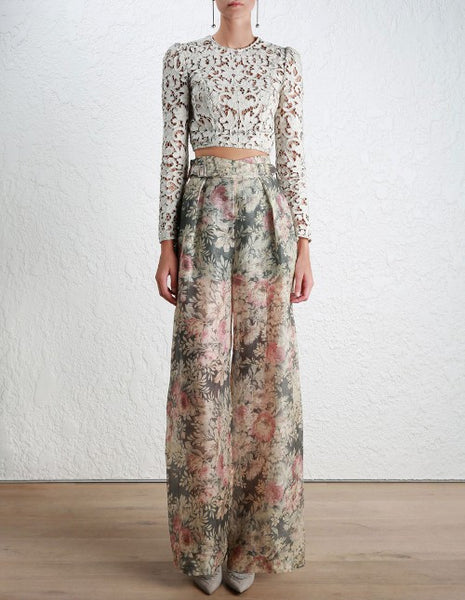 b93dfcd6d71 Zimmermann high waisted cavalier buckle pant in smoked floral organza jpg  465x600 Jumpsuit ss17