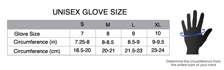 Cycling Glove Size Chart