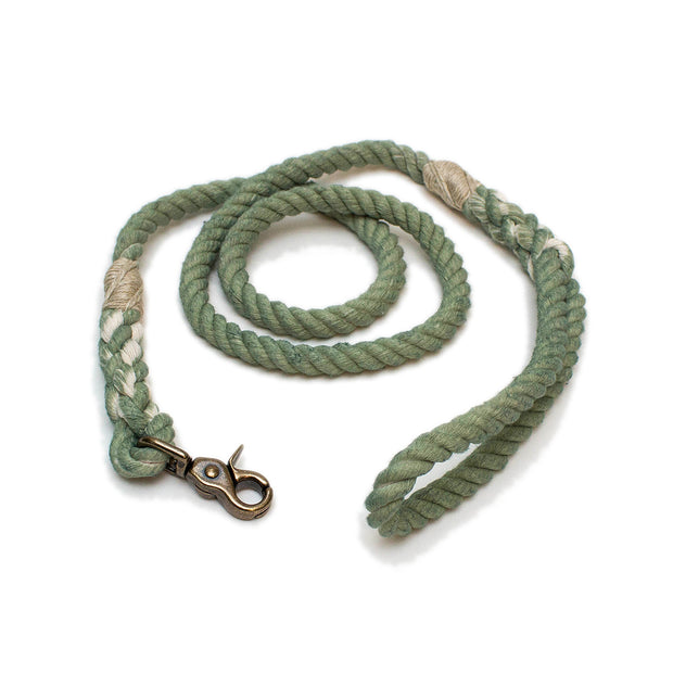 Winter Light balsam green cotton rope dog leash - handmade Green Trout Outfitters
