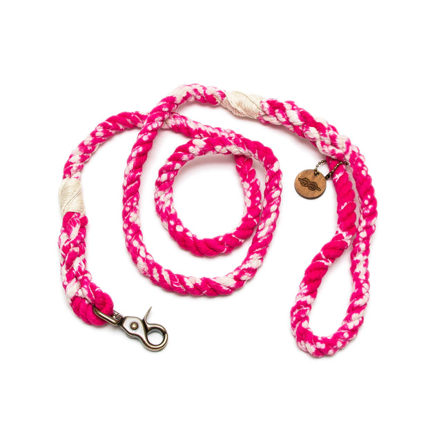 Hot Pink Marbled Rope Leash