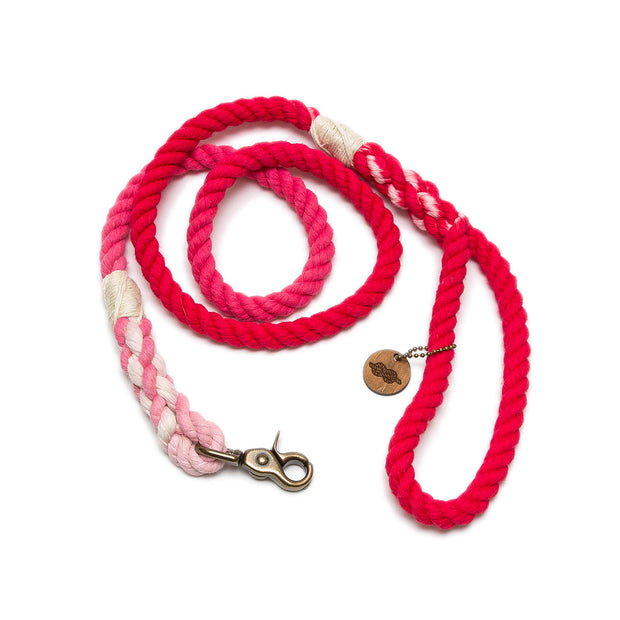 Bright Red Ombre Rope Leash
