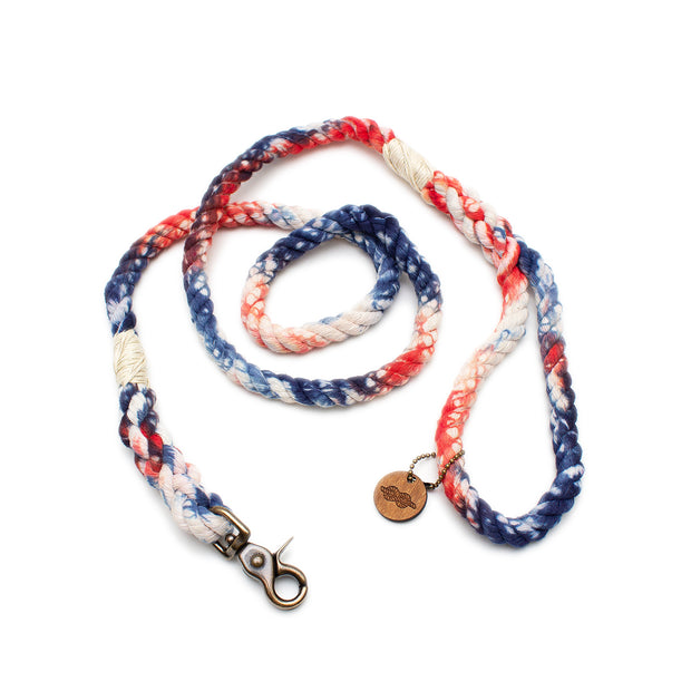 Patriotic Tie-Dye Rope Leash