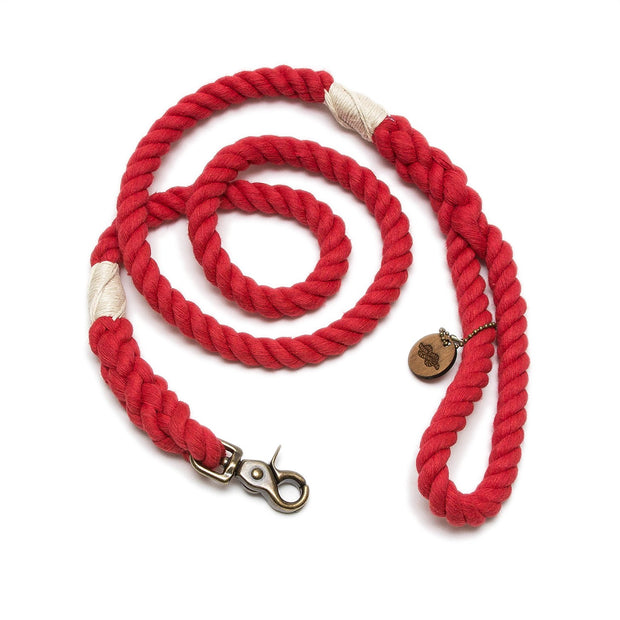 Bright Red Wayfarer Leash-Rope Dog Leash-Green Trout Outfitters-Handmade-Eco Friendly-Dog Leash