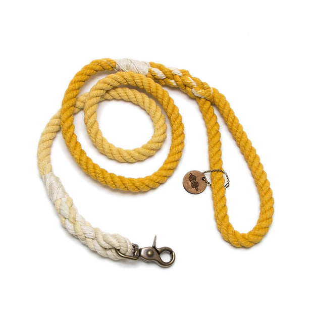 Mustard Ombre Rope Leash-Rope Dog Leash-Green Trout Outfitters-Hand Dyed-Handmade-Dog Leash