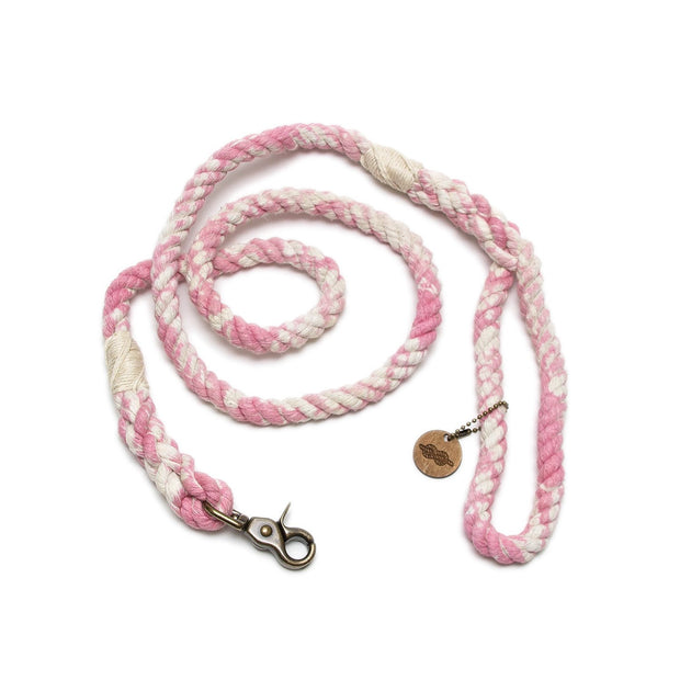 Powder Pink Marbled Rope Leash-Rope Dog Leash-Green Trout Outfitters-Hand Dyed-Handmade-Dog Leash