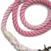 Powder Pink Ombre Rope Leash-Rope Dog Leash-Green Trout Outfitters-Hand Dyed-Handmade-Dog Leash