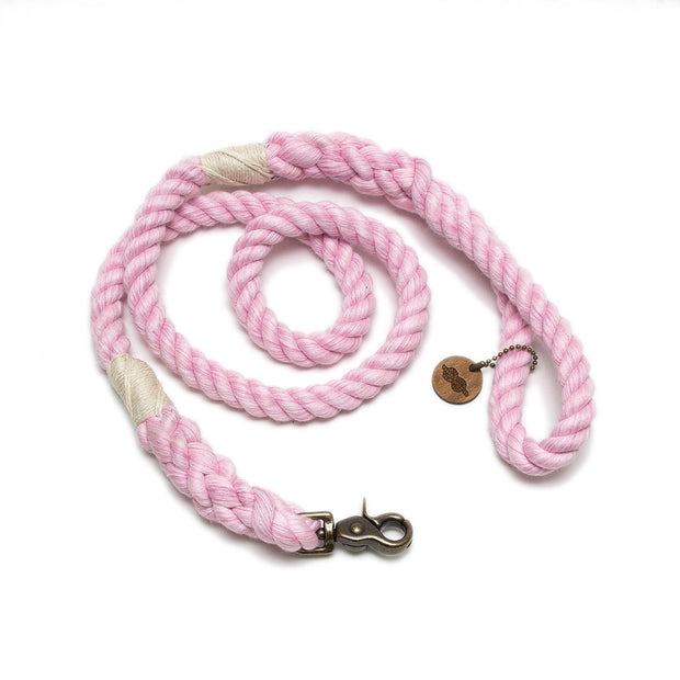 Powder Pink Wayfarer Leash-Rope Dog Leash-Green Trout Outfitters-Handmade-Eco Friendly-Dog Leash