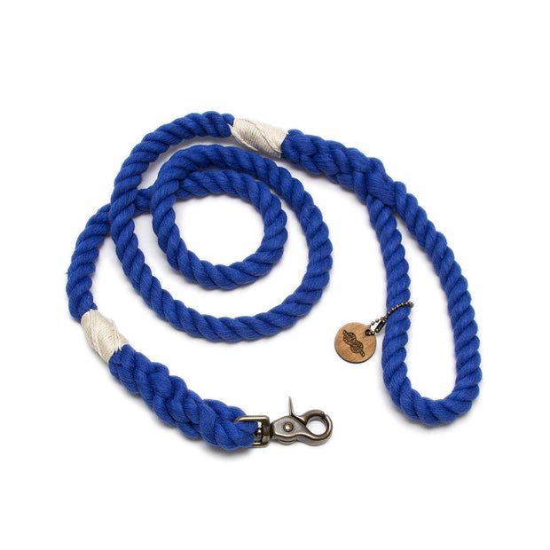 Royal Blue Wayfarer Leash-Rope Dog Leash-Green Trout Outfitters-Handmade-Eco Friendly-Dog Leash