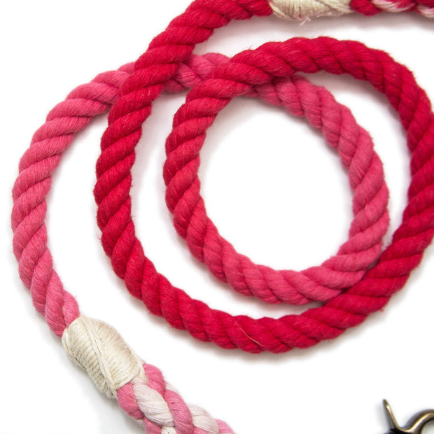 Scarlet Ombre Rope Leash-Rope Dog Leash-Green Trout Outfitters-Hand Dyed-Handmade-Dog Leash
