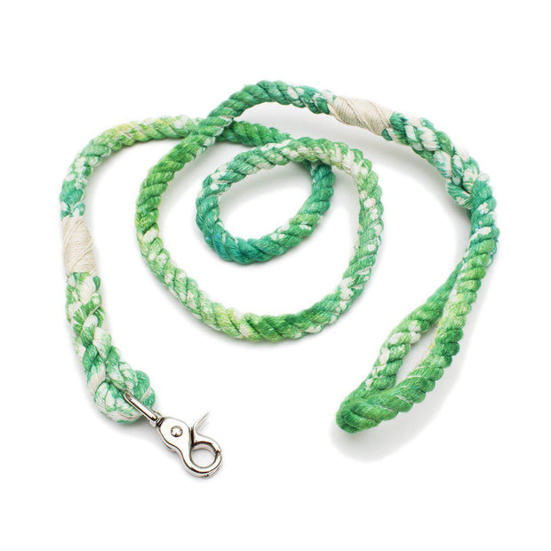 Shades of Green Tie-Dye Rope Leash-Soft Cotton-Eco Friendly-Handmade-Green Trout Outfitters
