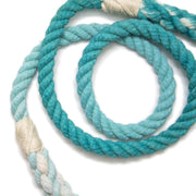 Teal Ombre Rope Leash-Rope Dog Leash-Green Trout Outfitters-Hand Dyed-Handmade-Dog Leash