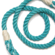 Teal Rope Leash-Rope Dog Leash-Green Trout Outfitters-Hand Dyed-Handmade-Dog Leash