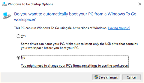 Windows To Go Startup Options