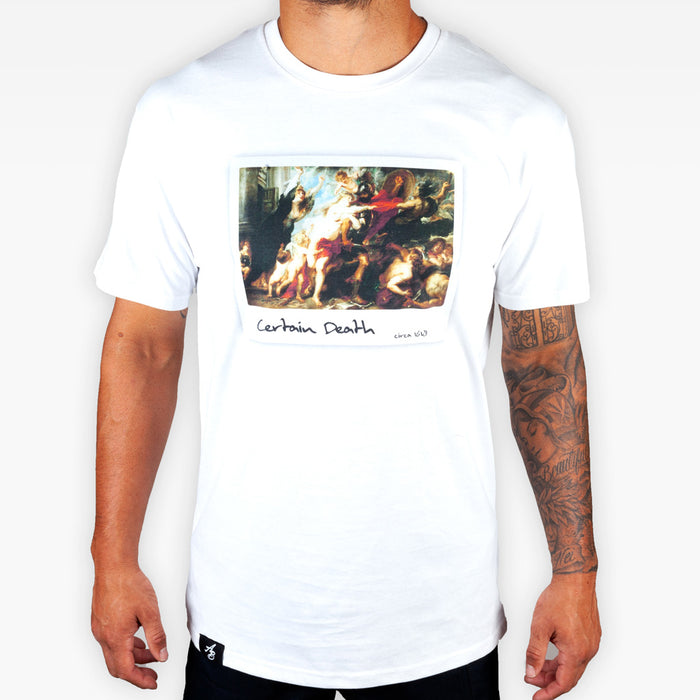 Certain Death Tee - White - Apparel - The Arm Bar Soap Company
