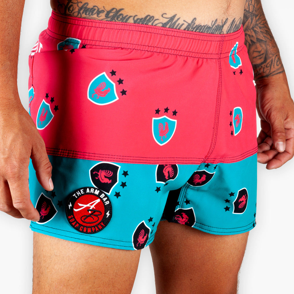 Hybrid Rugby Training Shorts - Watermelon - Apparel - The Arm Bar Soap Company