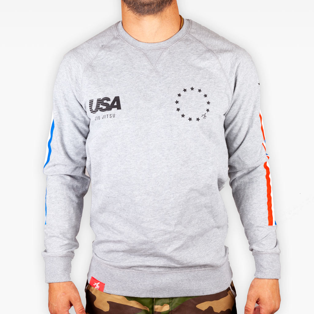 The USA Competition Team Crew Sweatshirt - Heather Grey - Apparel - The Arm Bar Soap Company