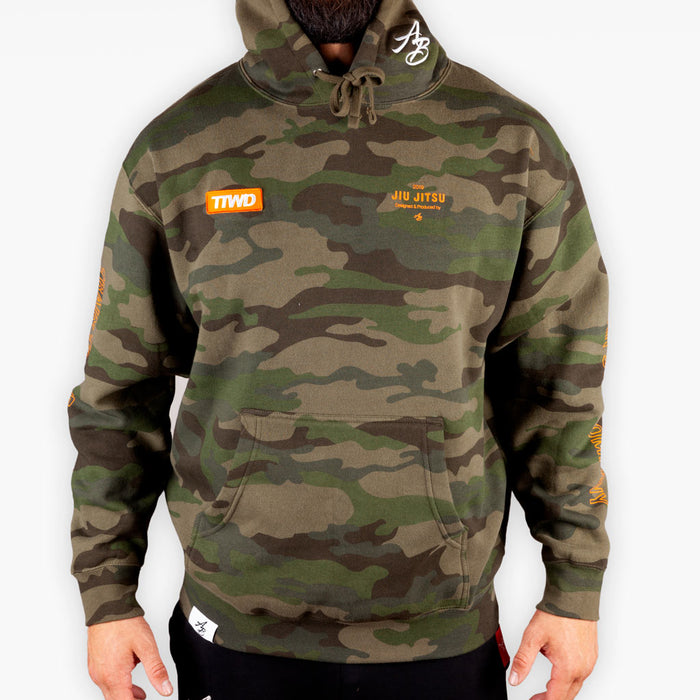 The Official Issue Hoodie 7 - Orange on Forest Camo - Apparel - The Arm Bar Soap Company