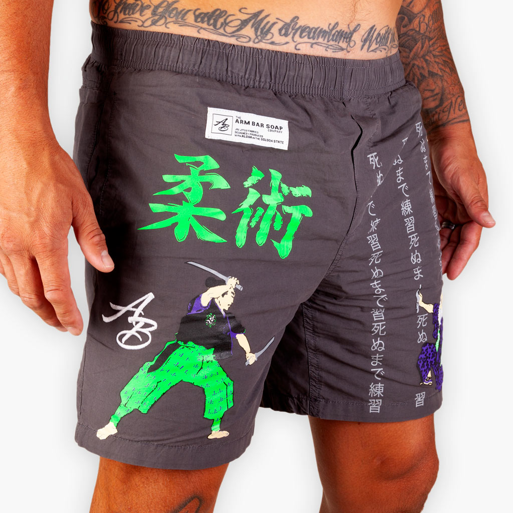 The 5 Rings Beach Shorts - V2 - Grey - Apparel - The Arm Bar Soap Company