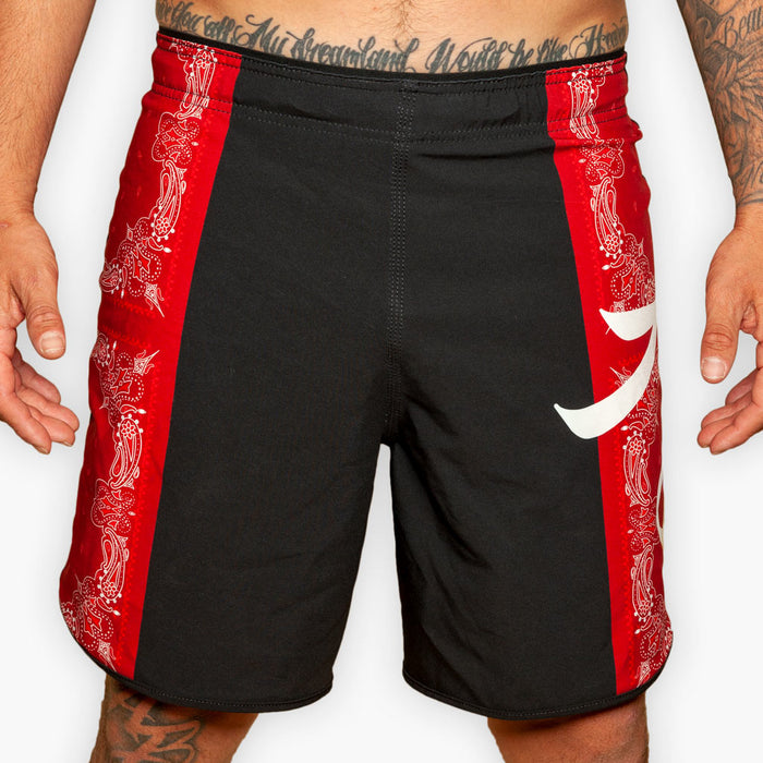 The Bandana Hybrid Training Shorts - Crimson - Apparel - The Arm Bar Soap Company