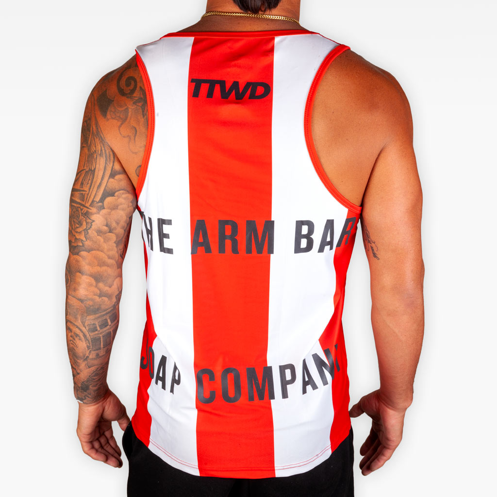 V7 Training Tank - Red + White + Black 3M - Apparel - The Arm Bar Soap Company