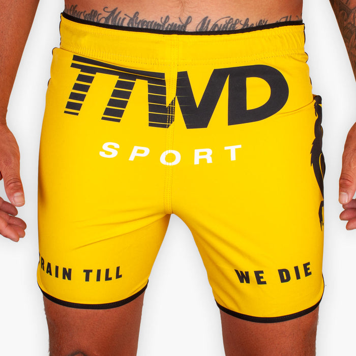 THE TTWD SPORT FITTED TRAINING SHORTS - Yellow