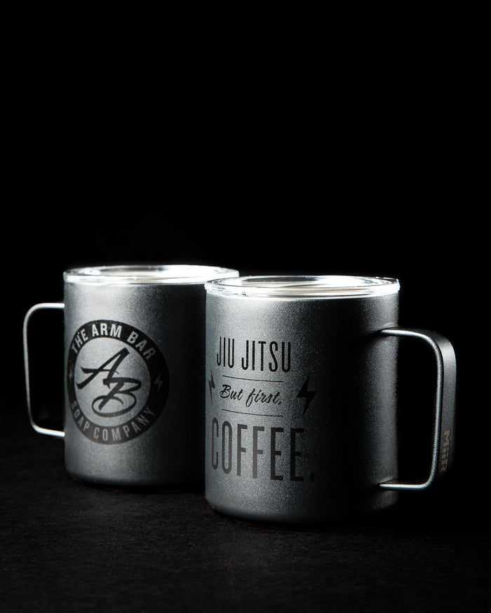 ARM BAR X MIIR™ TRAVEL CAMP MUG - Shiny Black on Matte Black -  - The Arm Bar Soap Company