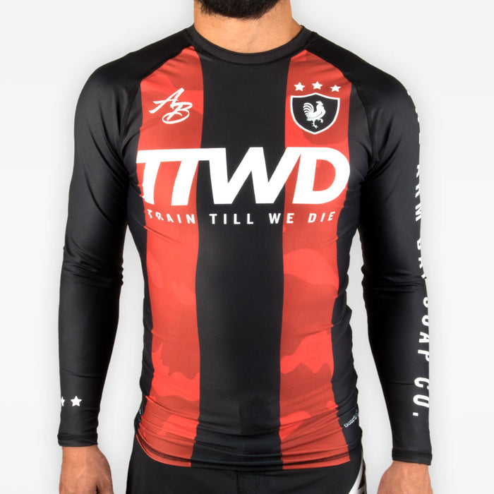 TTWD Rashguard - Crimson + Black - Apparel - The Arm Bar Soap Company