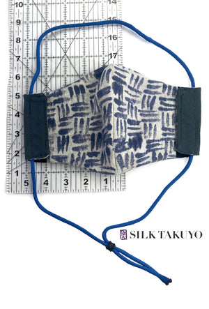 4 layer Mens Natural Linen Face Mask, Hand painted Zen Weave Pattern Beige and Navy Blue