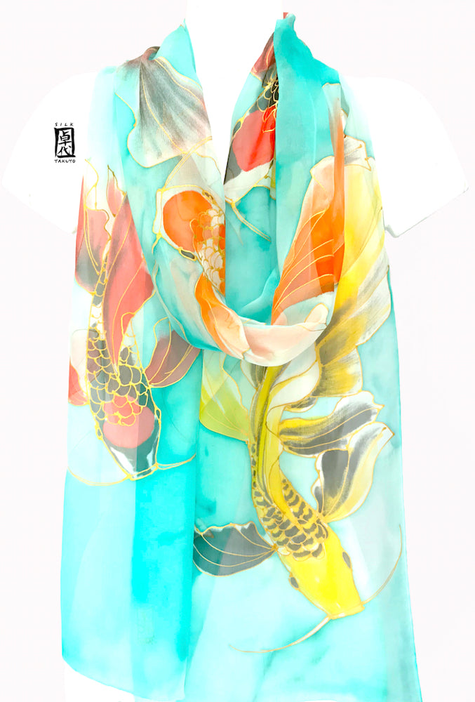 Aqua Chiffon Scarf, Red and Yellow Koi Fish Scarf