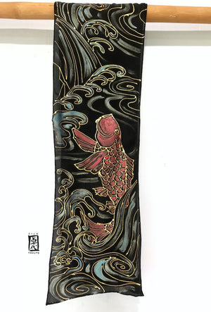 Black Silk Crepe Scarf, Leaping Red Koi
