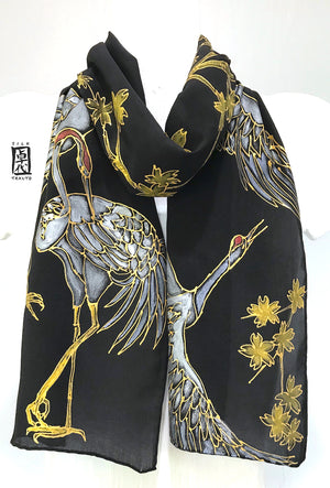 Black Silk Scarf, Crane and Cherry Blossom in Gold