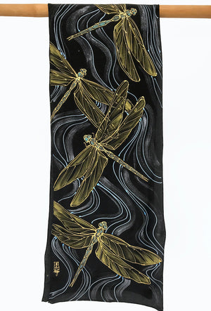 Black Silk Scarf, Dragonfly in Gold and Blue