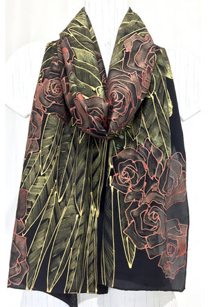 Black Silk Scarf, Gold Wing, Red Roses