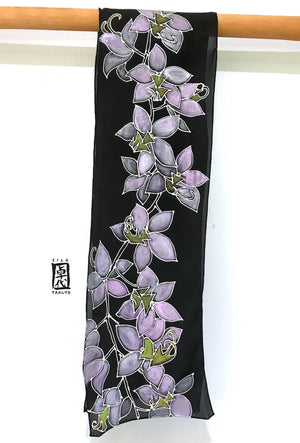 Black Silk Scarf, Orchid in Purple and Silver