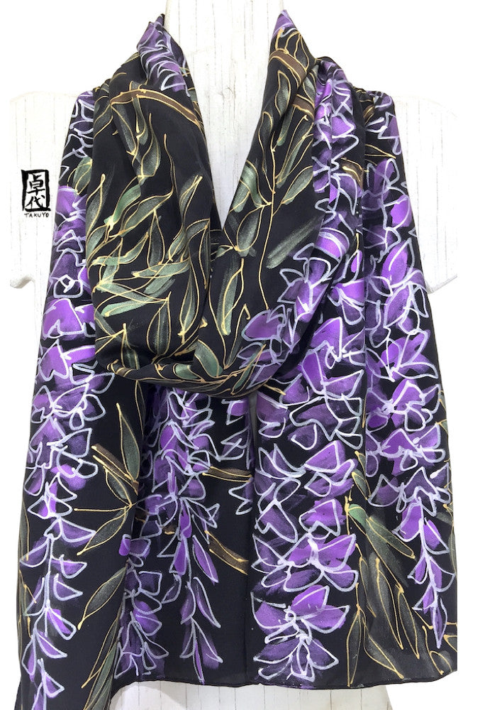 Black Silk Scarf, Purple Wisteria Moon Night