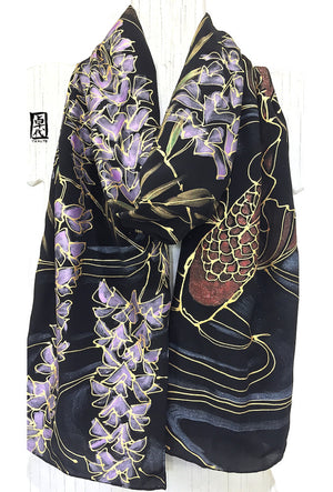 Black Silk Scarf, Red Koi, Pink Wisteria