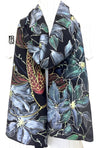 Black Silk Scarf, Red Koi and Clematis
