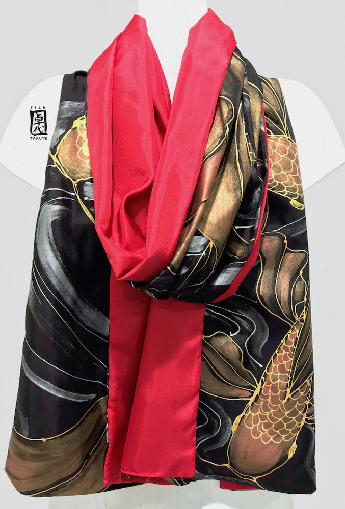 Black Silk Shawl Wrap, Red Koi, Reversible Scarf