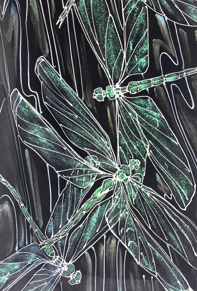 Black Small Silk Scarf, Silver and Green Dragonfly