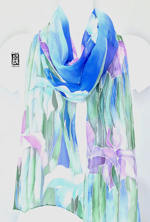 Blue Chiffon Scarf, Iris in Misty Blue