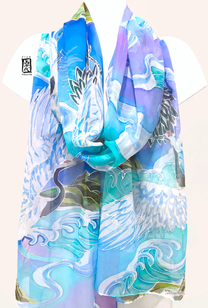Blue Chiffon Silk Shawl Wrap, Japanese Crane and Blue Ocean Wave
