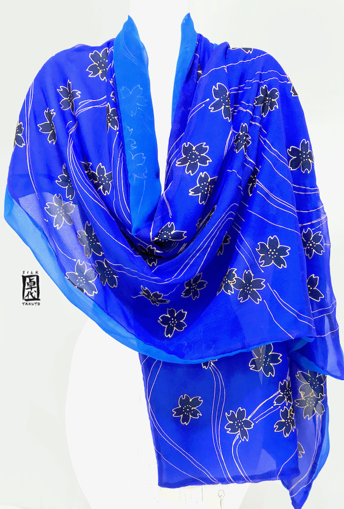 Blue Chiffon Silk Wrap, Black and Gold Cherry Blossom