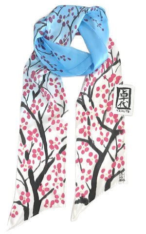 Blue Skinny Scarf, Red Plum Blossoms