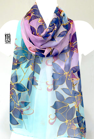 Blue and Pink Chiffon Scarf, Ombre Orchid